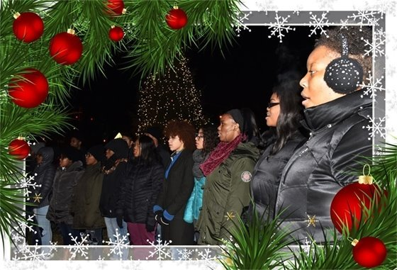 Bloom District 206 Choir caroling under the tree