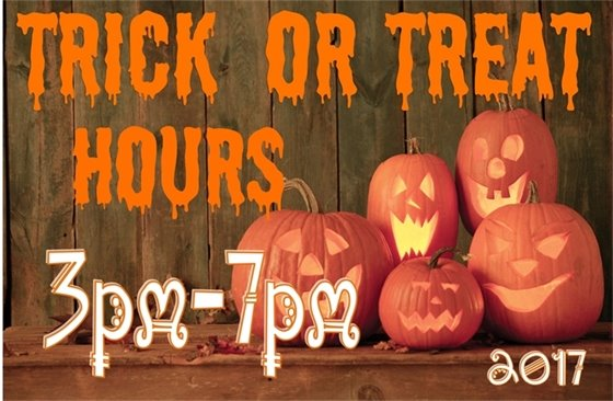 Trick or Treat Hours 3 PM to 7 PM