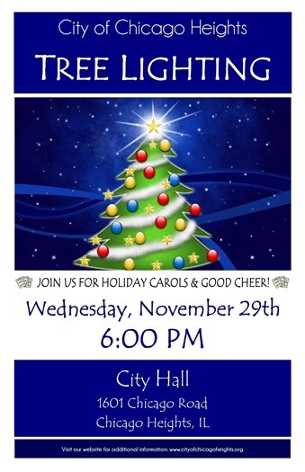 Tree Lighting November 29th at 6PM at City Hall
