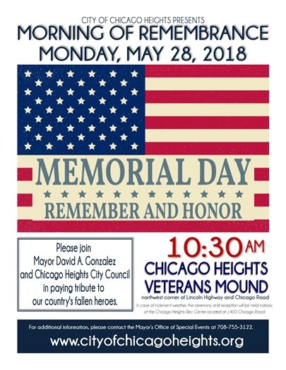 Morning of Remembrance Monday, May 28, 2018